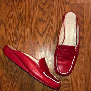 Coach | Red Leather Penny Loafer Mule Slides